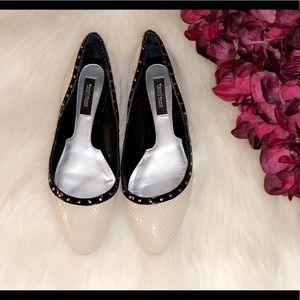 WHITE HOUSE BLACK MARKET Leather Snake Print Flats